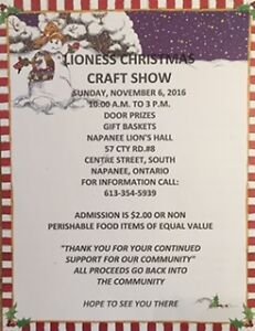 Napanee Lioness Christmas Craft Show Kingston Kingston Area image 1