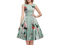 Vintage 1950s Classy Rockabilly Retro Floral Pattern Print Cocktail Evening Swing Party Dress