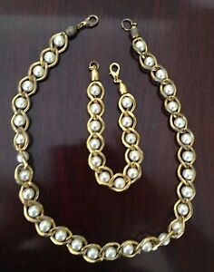 Necklace & bracelet set, gold w. white pearls - REDUCED $40