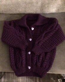 Knitted Baby Aran Cardigan Cadbury Purple