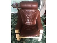 Brown Real Leather chair - very good / good condition