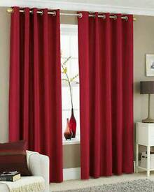 Almost new v modern stylish fully lined red silk curtains