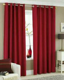 Almost new v modern stylish fully lined eyelets red silk curtains with matching tiebacks
