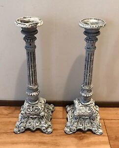 Pair of Cast Metal Large Shabby Chic Candle Sticks