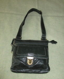 Genuine dark green Roots leather bag, excellent condition