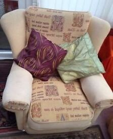 3 SEATER CHAIR AND 2 ARM CHAIRS PLUS CUSHIONS