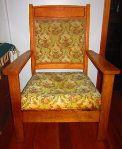 Antique Oak Chair w Material back and seat