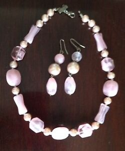 necklace & earrings set, pink beads - price reduced $20
