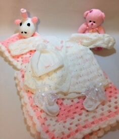 Handmade Knitted Children's and Baby Gift Sets. Gift wrapping included