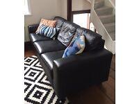 Real Leather IKEA Skogaby Sofa in Black £100 O.B.O.