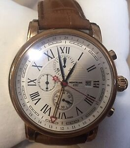 MontBlanc UTC Gold Watch  Brown Leather