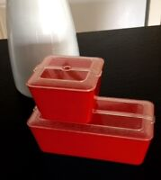 Vintage Red Plastic Refrigerator Picnic Boxes Containers