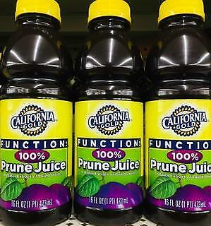 6 Bottles California Gold 100% Prune Juice 16oz ~ FAST FREE EXPEDITED SHIPPING !