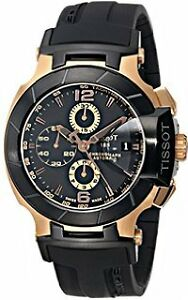 Tissot Men's T-Race Rose Gold-Tone Watch with Black Band