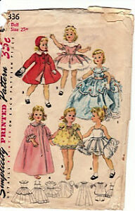 Vintage 1950's Simplicity #1336 Doll Clothing Pattern