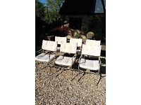 6 Metal garden table chairs