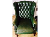 Queen Anne Chesterfield wingback armchair..vintage
