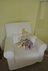 IKEA chair with white slipcover