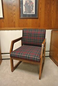 2 solid wood office chairs with plaid upholstery