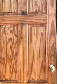 interior standard good quality pine door with hinges & locking handle; varnished