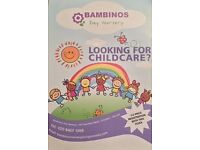 Bambinos Day Nursery. Let your child grow up in a friendly, safe and joyous atmosphere.