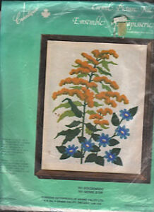 """Crewel Embroidery Picture Kit """"Goldenrod"""""""