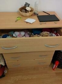 Chest of drawers and bedsite table