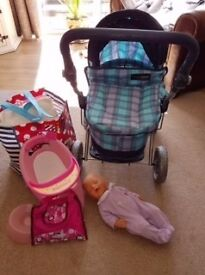 Mama & Papas Toy Pram and Baby Born Interactive Doll with Accessories