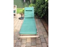 Bridgeman Teak Reclining Sunlounger, Reclining Chair with footrest, both with pads & Side Table