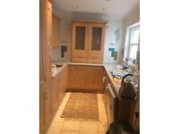 Kitchen Cabinet, with frosted glass doors, glass shelves and lights