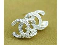 Stunning! Classic Twist Silver Diamante Chanel Stud Earrings Brand New! ~ Only £8