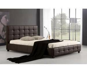 Double PU Leather Deluxe Bed Frame Brown Brisbane City Brisbane North West Preview