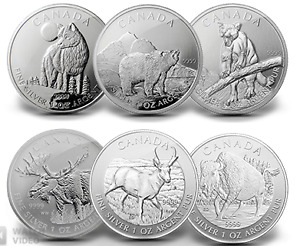 Silver coins collection: Canadian Wild Life Series (6 x 1oz)