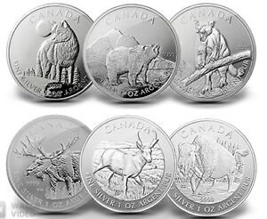 Monnaie 6 Silver coins: Canadian WILD LIFE complet set