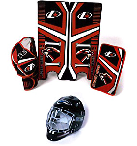Team Canada logo Sher-wood road hockey goalie pads glove stopper