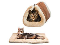 Cat/dog Mat 2 In 1 Pet Tunnel Bed Mat /CatPuppy Cushion & Luxury Pad Fleece Self Heating Sofa