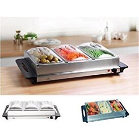 Stainless steel 3 pan buffet server & warming tray
