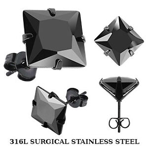 BLACK IP STAINLESS STEEL PRINCESS CUT 2 CT BLACK CZ STUD EARRINGS MENS WOMENS
