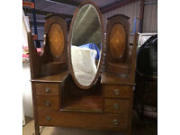 Edwardian Bedroom Suite - Rosewood Inlay Wardrobe and Dressing Table
