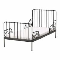 $65 - Ikea minnen children bed frame in black with wooden slats.