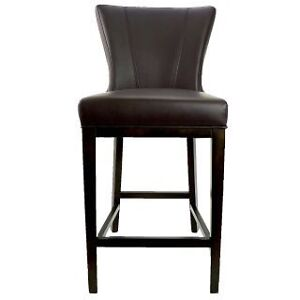 R-1216 Leather Counter Stool with Back in Brown