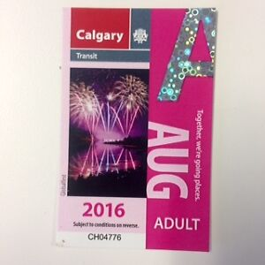 Calgary Transit bus pass for August