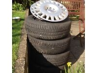 """Vauxhall Astra H mk5 set of four excellent 195/65/R15 branded tyres AND 15"""" steel wheels"""