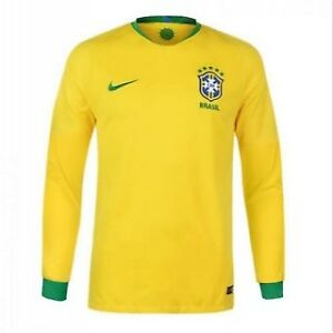 Brazil Home Long Sleeve 2018 Official Nike Jersey On Sale a04323093