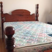 Queen Size Bed with Box Spring and Mattress