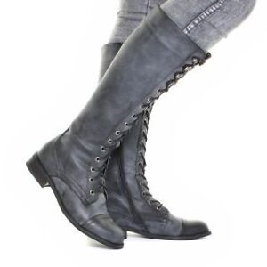 Worn once sz 6 wool-lined grey knee-high combat boots