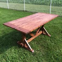 Solid Spruce Trestle Style Harvest Table  ~Handcrafted Locally~