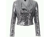 Silver sequin biker Jacket