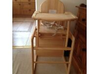 East Coast Wooden Combination Highchair with harness.