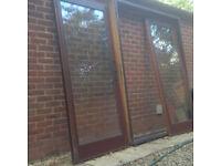 hardwood patio door and window